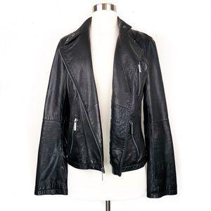 Michael Kors Leather Moto Zip Asymmetric Jacket